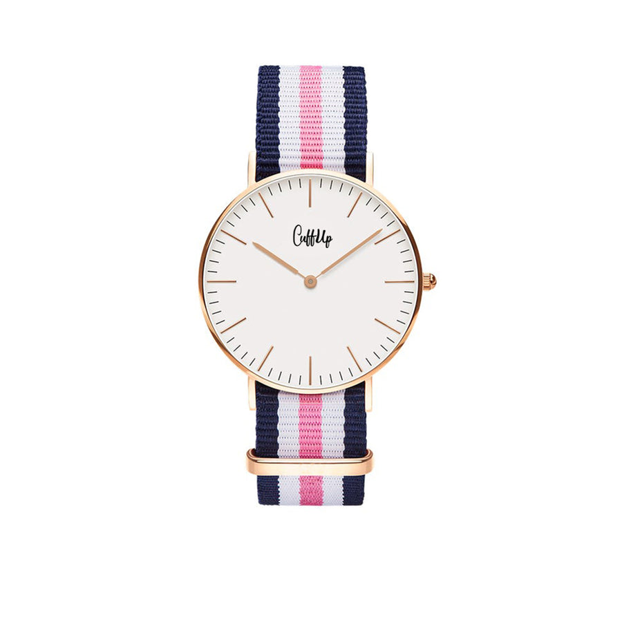 Cuff Watch - Bleu, Blanc & Rose