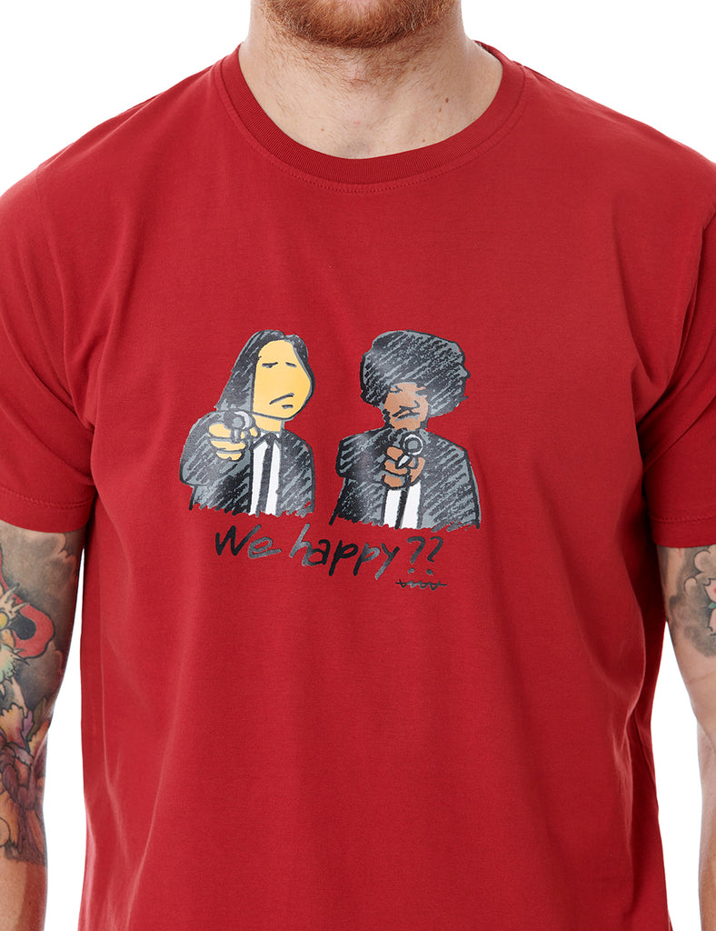 We Happy? callate la boca tshirt red