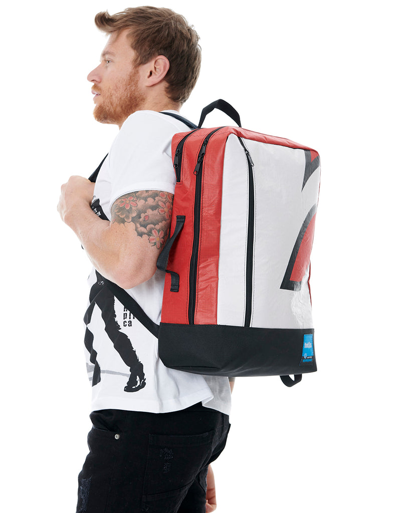 thinkSea Kaki-Red Large Recycled Backpack