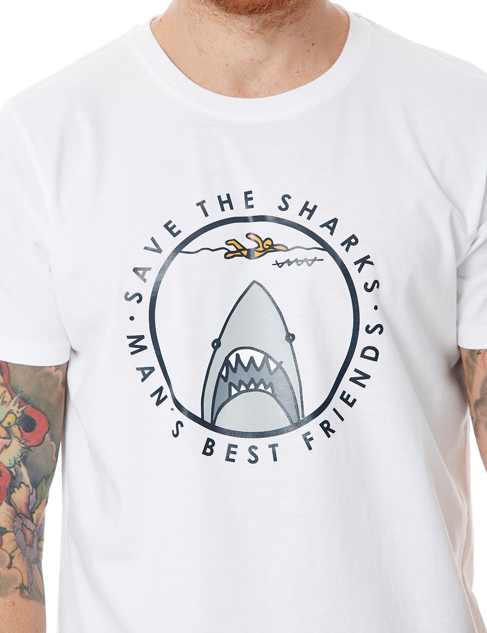 Save The Sharks callate la boca tshirt white