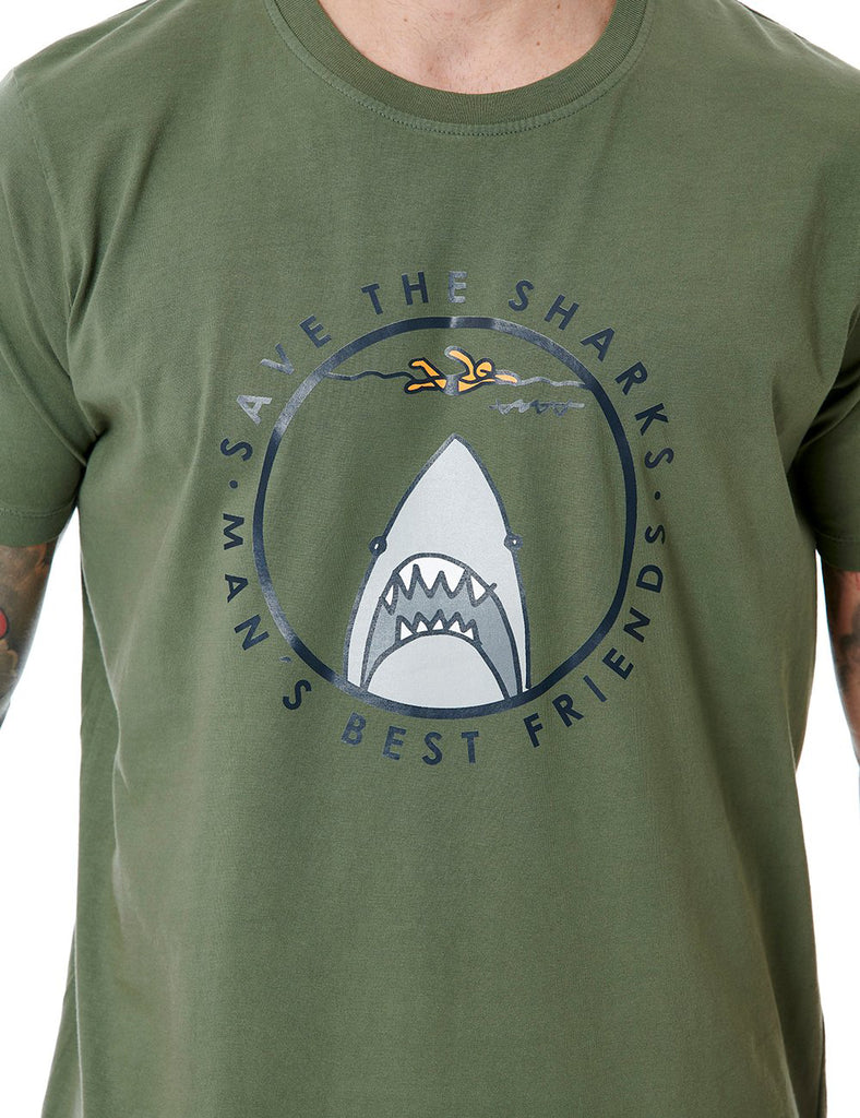 Save The Sharks callate la boca tshirt khaki