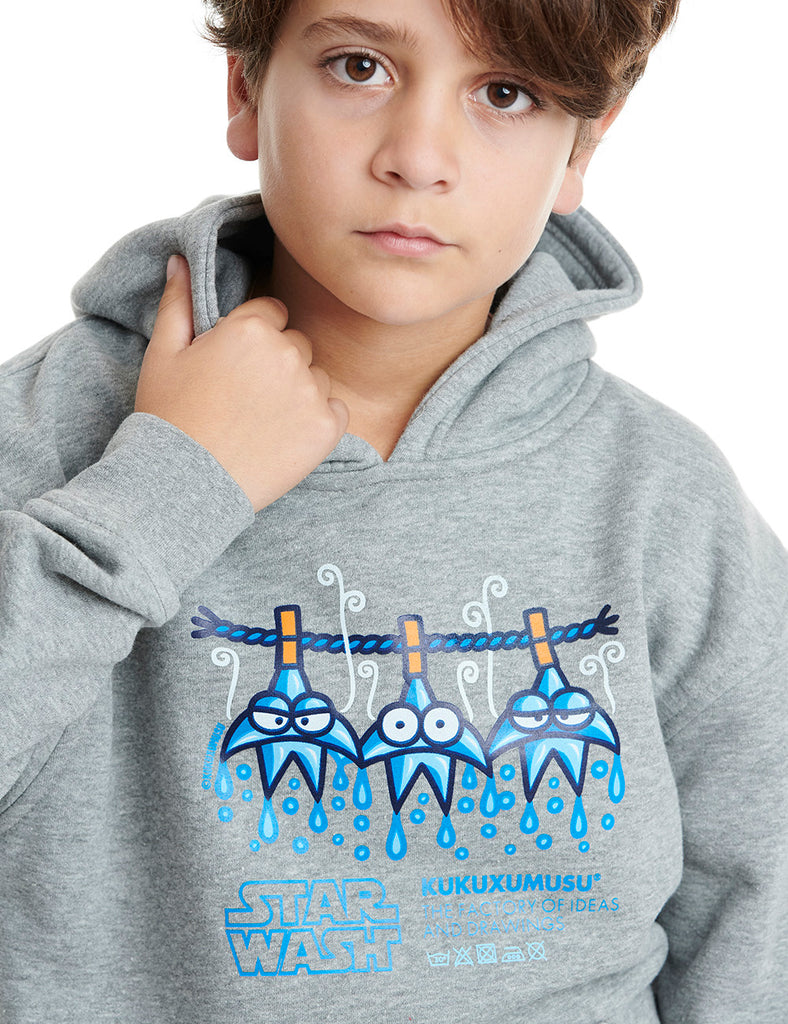 star wash kukuxumusu hoodie boy grey cheviot