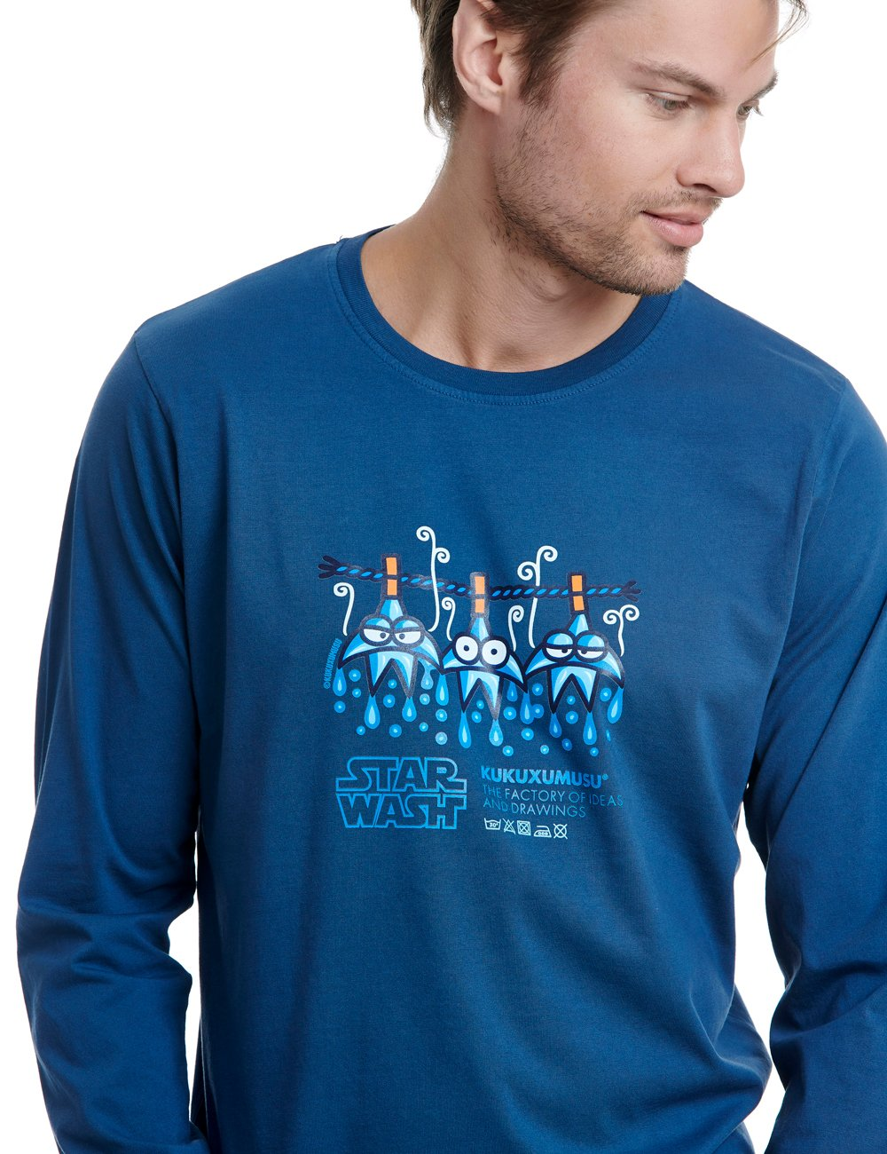 Star wash long sleeve kukuxumusu blue