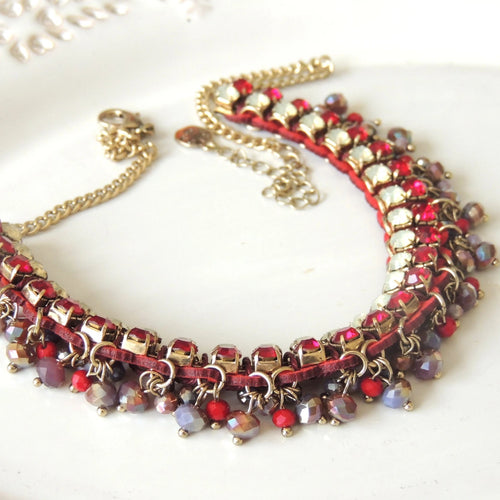 Shiny Red Vintage Necklace