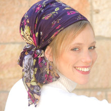 Sangria Purple Floral Headscarf