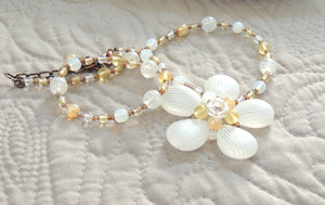 White Flower Beaded Necklace
