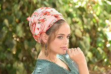 Pink Red Floral Stretched Satin Turban