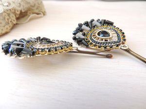 Gold Black Bridal Hair Pin