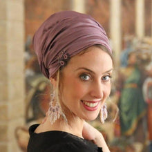 Purple Stretched Satin Turban Sinar