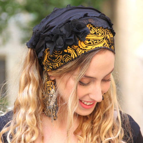 Black Yellow Ruffle Bandana