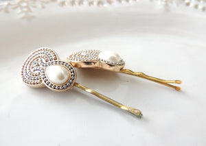 White Bridal Hair Pin
