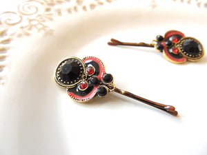 Boho Black Red Hair Pin