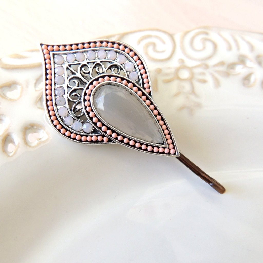 Grey Pink Hair Pin