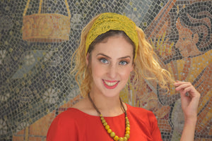 Yellow Mustard Stretchy Lace Headband