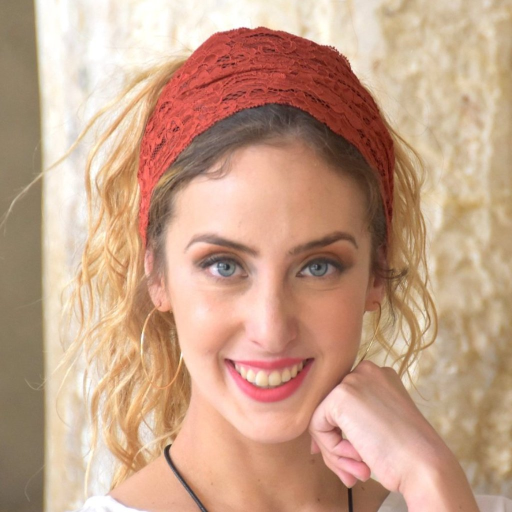 Old Red Stretchy Lace Headband