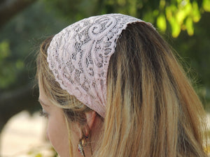 Pink Stretchy Lace Headband