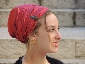 Red Stretched Satin Turban Sinar
