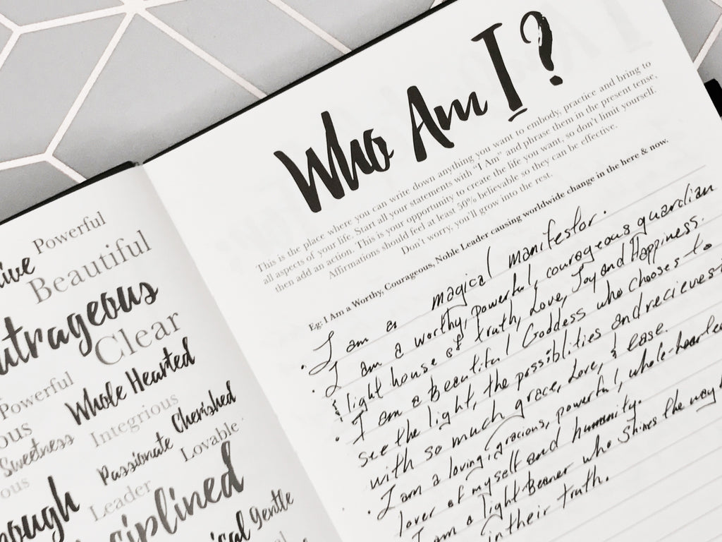 Who Am I? Affirmation exercise in the PleaseNotes Guided Affirmation Journal