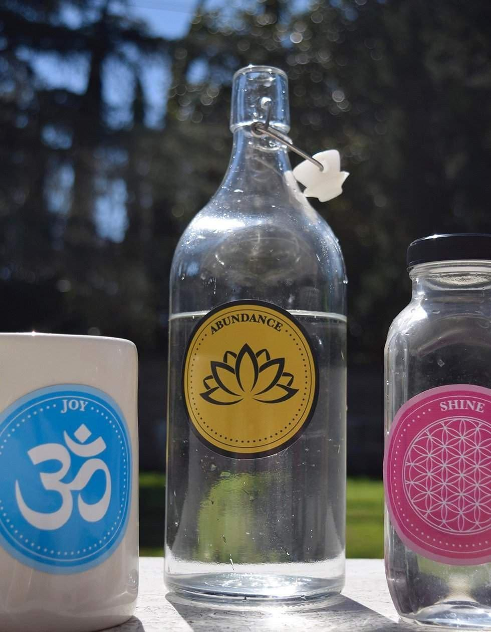 Label of Love-Label Of Love-PleaseNotes-PleaseNotes Affirmation Water Bottle Label With Flower of Life