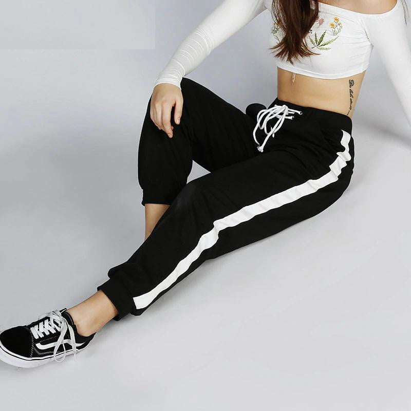 Striped Patchwork Harm Sweatpants - klozetstyle.com