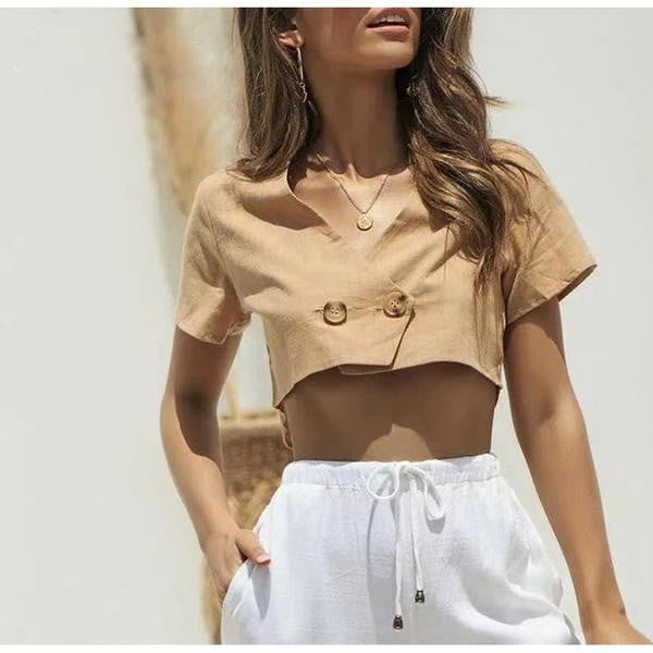 Khaki V Neck Short Sleeve Shirt Crop Tops and Blouse - klozetstyle.com