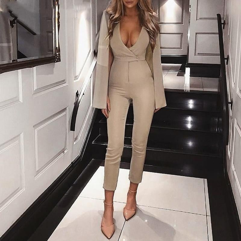 Shrug deep v neck cloak bodycon autumn jumpsuit - klozetstyle.com