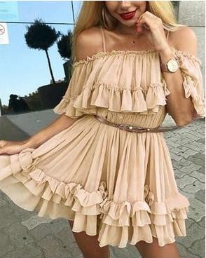 Off shoulder strap ruffle pleated short dress - klozetstyle.com