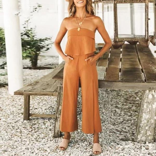 Strapless Wide Leg Summer Ruffles High Fashion Jumpsuit - klozetstyle.com