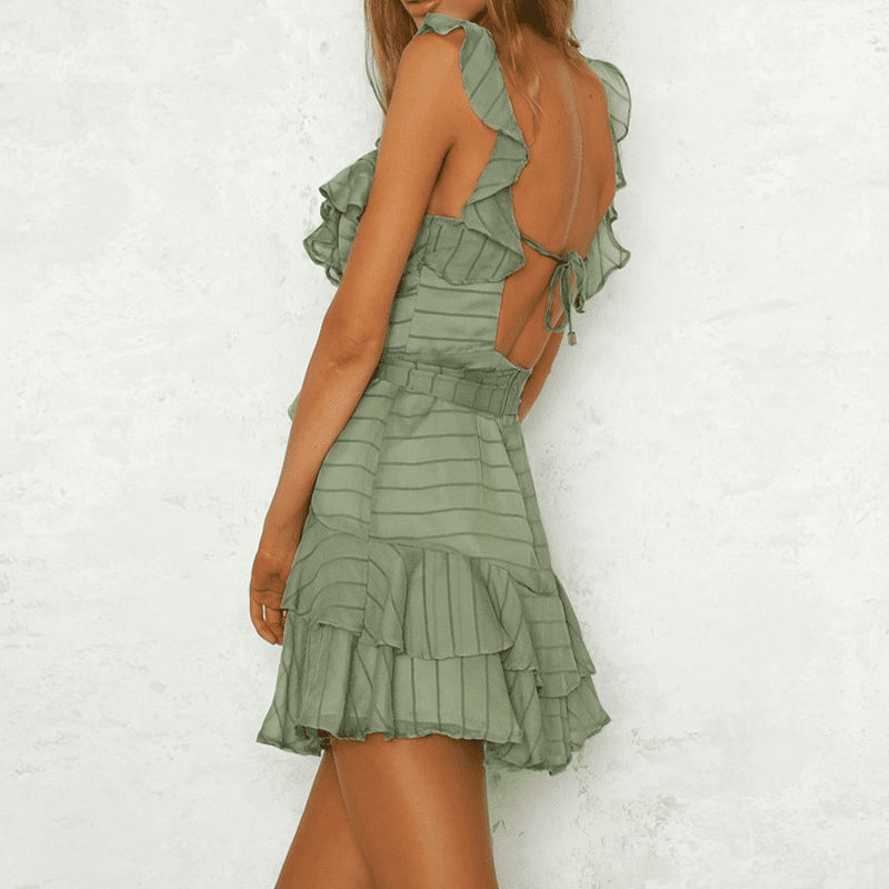 Solid V Neck Ruffle Dress - klozetstyle.com