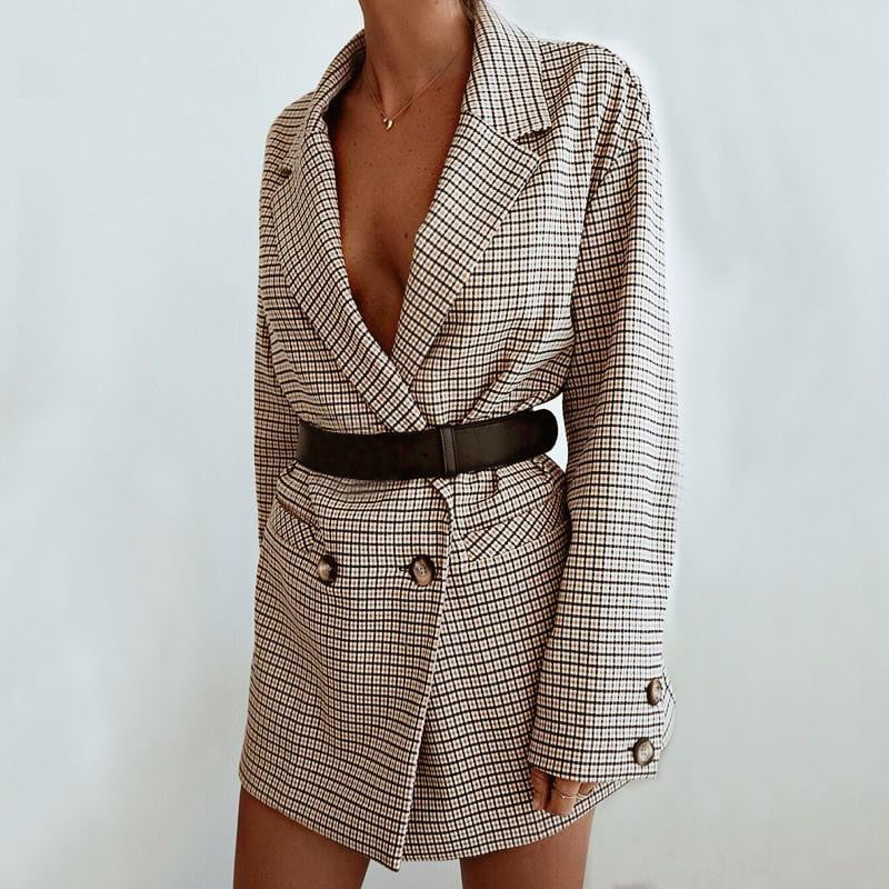 Oversized bodycon plaid blazer dress - klozetstyle.com
