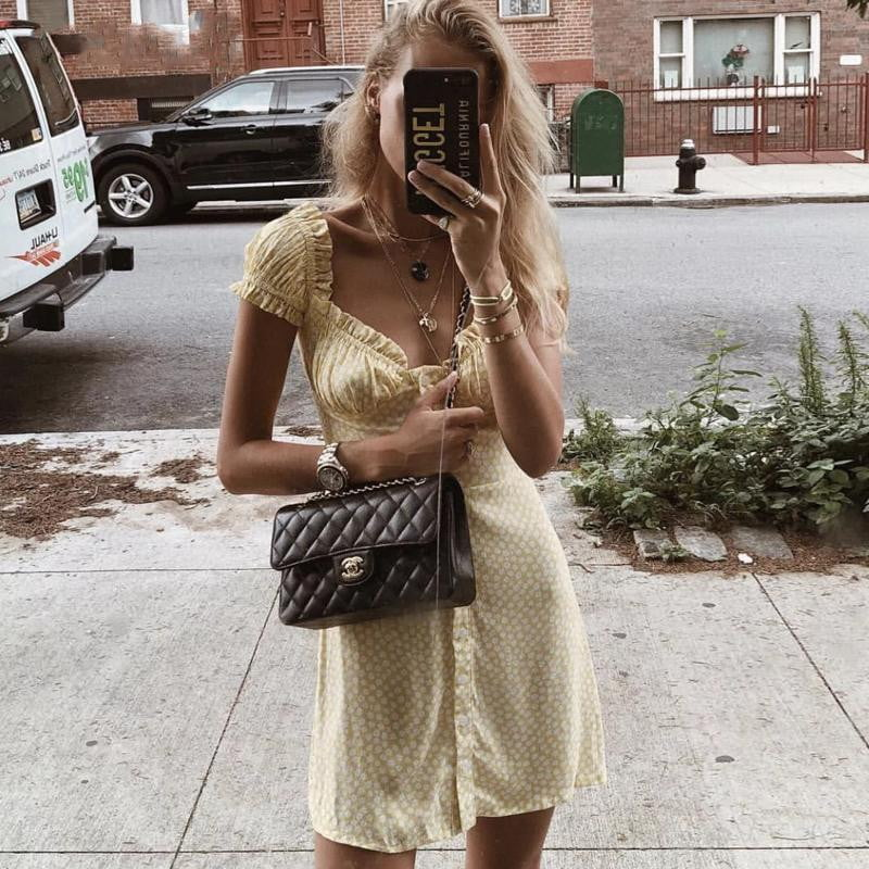 Yellow floral elastic mini dress - klozetstyle.com
