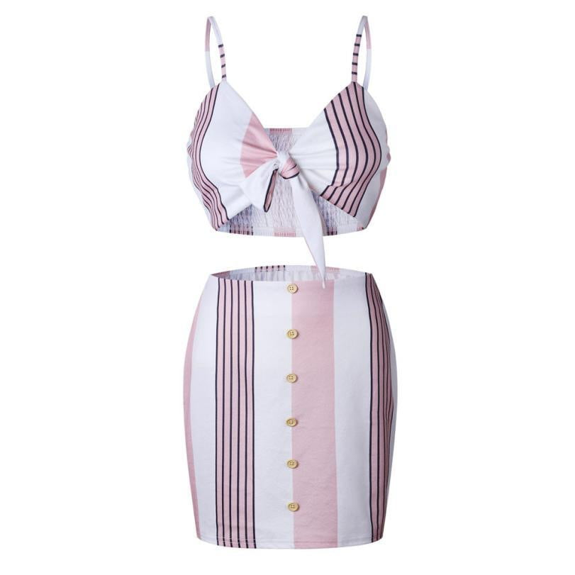 Bow Stripe Halter Top and Button High Waist Skirts Set