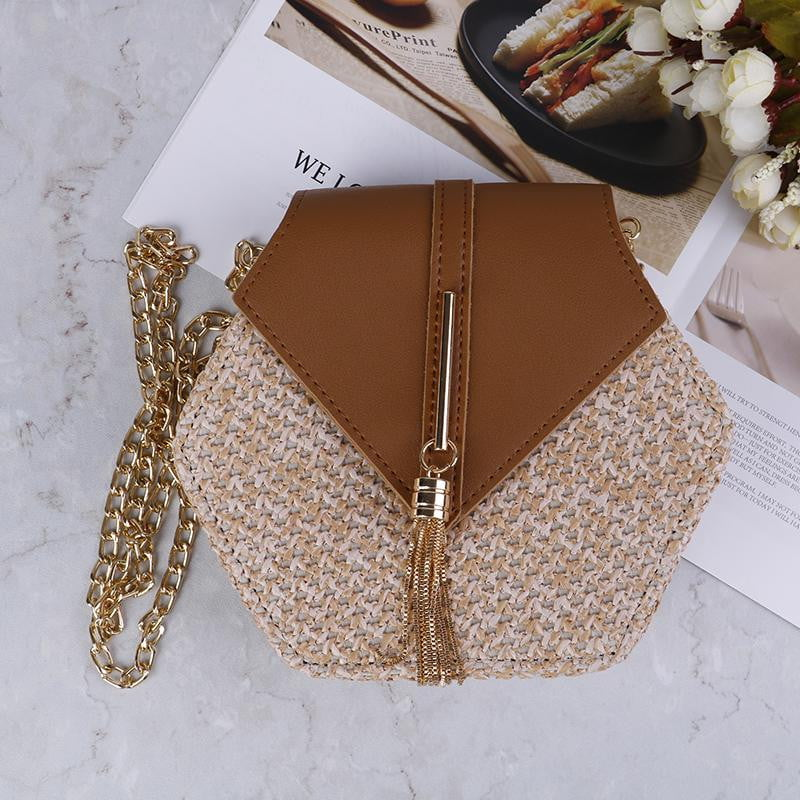 Klozetstyle Hexagon Straw Woven Crossbody Purses Bag - klozetstyle.com