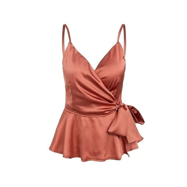 V neck satin cami crop top | Adjustable strap | Tank and blouses - klozetstyle.com