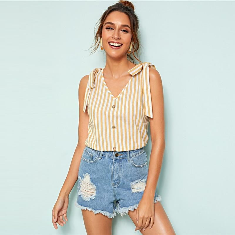 Yellow Knot Shoulder Button Front Striped Tank Top - klozetstyle.com