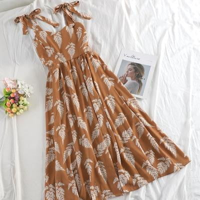Chiffon Ruched Leave Print Long Dress - klozetstyle.com