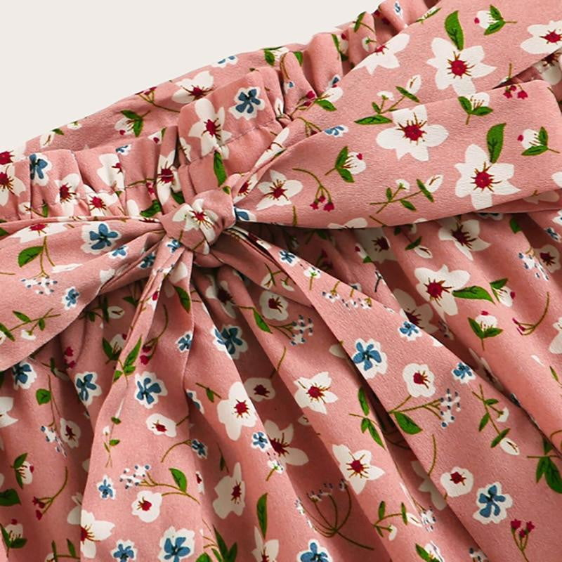 Pink Ditsy Floral Print Paperbag Waist Skirt - klozetstyle.com