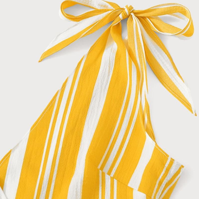 Yellow Striped Knot Surplice Cami Top With Belted Shorts Set - klozetstyle.com