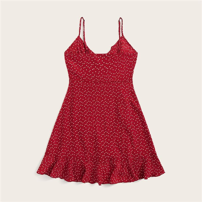 Red Ruffle Detail Self Tie Wrap Slip Dress - klozetstyle.com