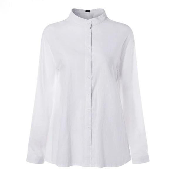 Plus Size Office Lady White Shirts Lantern Sleeve Top - klozetstyle.com