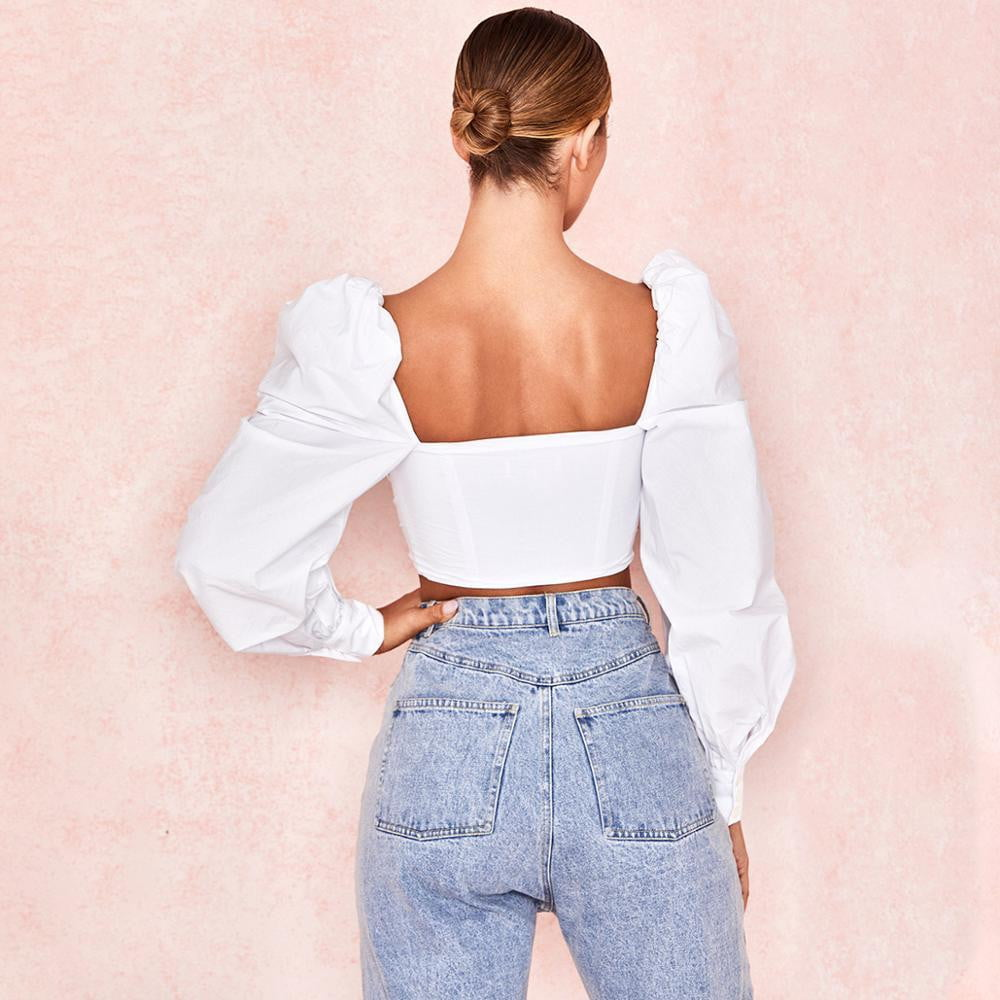 White Puff Sleeve Lace Up Off Shoulder Backless Tops - klozetstyle.com