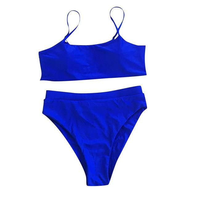 Strappy Solid Padded Push Up Bikini Set - klozetstyle.com
