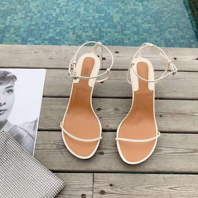 One Strap Narrow Band Vintage Buckle Strap High Heel Sandals - klozetstyle.com