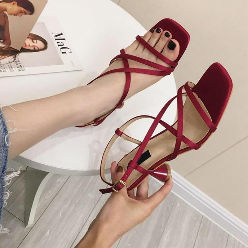 Geometric Heel Cross-tie Square Toe High Heel Buckle Strap Slingback Sandals - klozetstyle.com