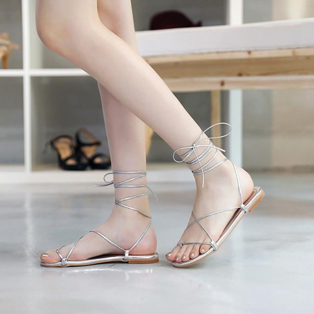Lace up Cross-tie Gladiator Soft Sole Summer Beach Sandals - klozetstyle.com