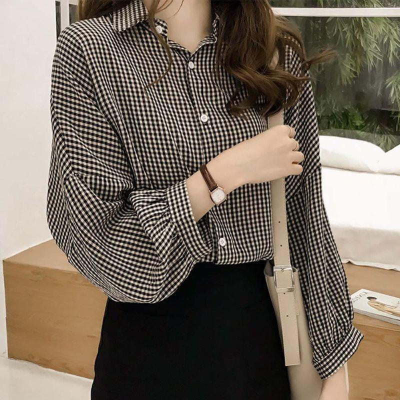 Striped Casual Long Sleeve Lapel Plus Size Blouse - klozetstyle.com