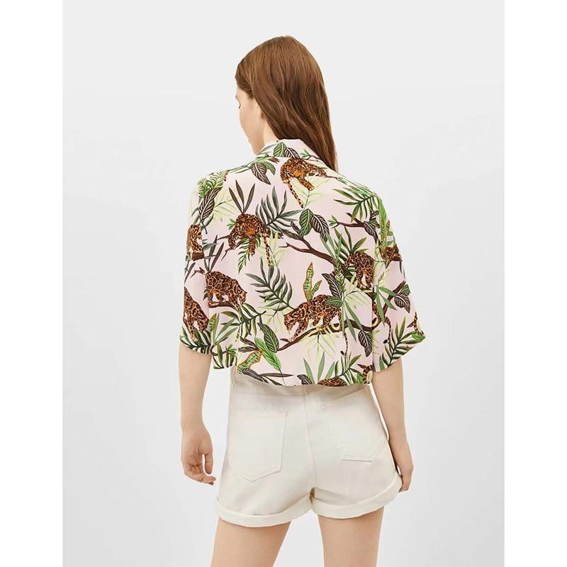 Casual turn-down collar print crop shirt blouse - klozetstyle.com