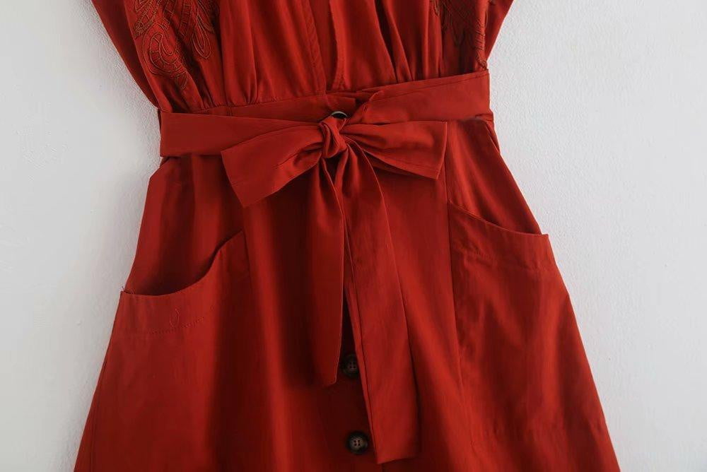 Vintage Bohemia Red Hollow Out Embroidery Cotton Linen Long Dress - klozetstyle.com