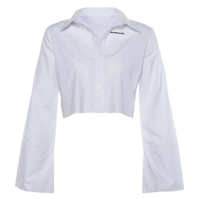 Spring Summer Office Lady White Crop Top Full Sleeve Basic Casual Embroidery Shirt - klozetstyle.com