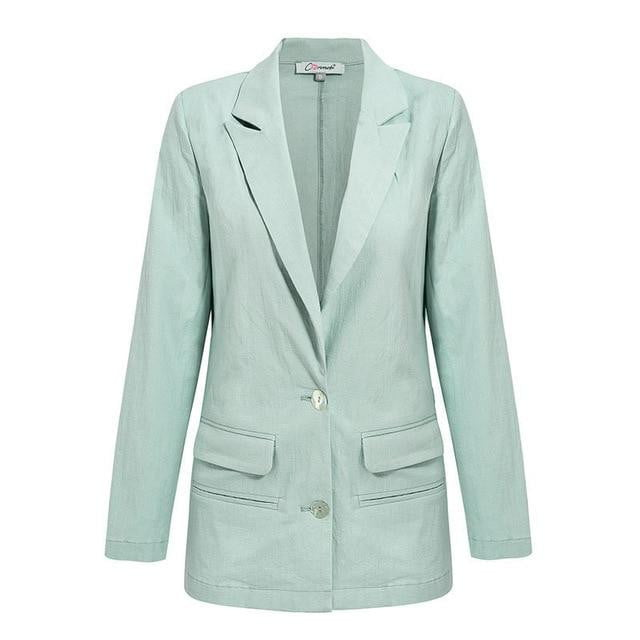 Solid High Fashion Pocket Casual Turn Down Button Blazer Coat - klozetstyle.com